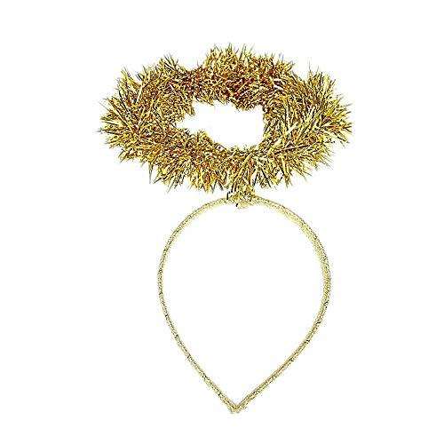 (Girls Christmas Gold Tinsel Angel Halo Deeley Bopper Alice Hair Band Headband)
