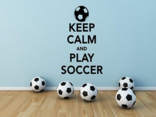 'Keep Calm and Play Soccer' - Wall Sticker Decal (Small: 30cm x 50cm / 12