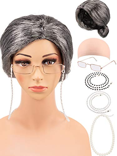 6 Pieces Old Lady Costume Set, Grey Wig, Wig Cap, Small Granny Glasses Pearl Necklace 2 Eyeglass Retainer Chains