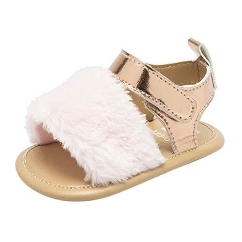 - Sumen Baby Girls Sandals Faux Fur Slides Flats Toddler Infant Crib Summer Shoes Pink