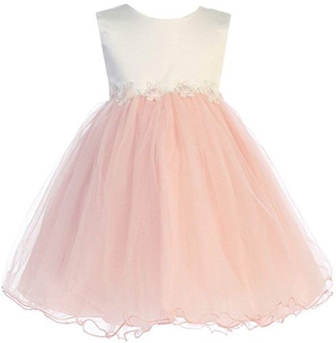 Dress Tulle Christening Satin (Blush Baby Girls Tulle Dress Christening Baptism Party Formal Flower Girl Dresses 3T)