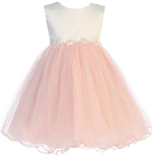 Blush Baby Girls Tulle Dress Christening Baptism Party Formal Flower Girl Dresses 18-24 Months