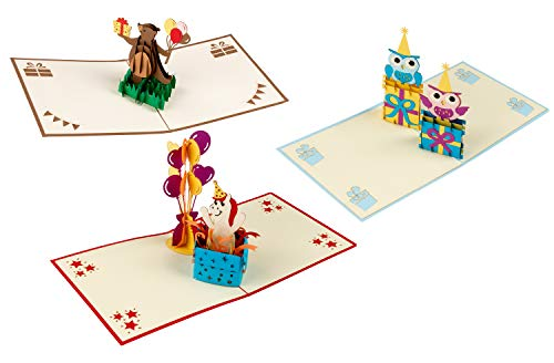 3D Birthday Cards - 3-Pack Birthday Popup Cards, Happy Birthday 3D Pop Up Greeting Cards with Cute Animals Theme, Bear, Horse, and Owls - Includes Envelopes, 4.75 x 4.75 Inches