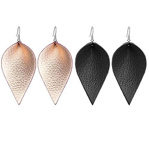 - Genuine Leather Leaf Clover Earrings Hollow Teardrop Petal 4 Leaves Shaped Drop Bohemian Earrings For Women
