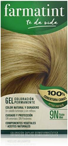 Farmatint Gel 9N Rubio Miel | Color Natural y Duradero | Componentes Vegetales y Aceites Naturales | sin Amoníaco | Sin Parabenos | Dermatológicamente ...