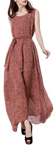 Wantdo Women's Flowy Long Dress Sleeveless Belted Dresses Beach Red M