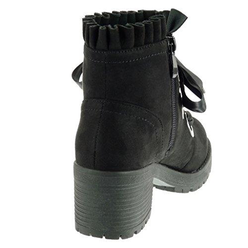Botines plataforma Tac militares trenzado Codones fleco Zapatillas saten Moda de mujer botas Angkorly qtBxHE7w7