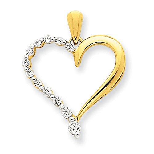 14 carats-Diamant-Pendentif Coeur-JewelryWeb