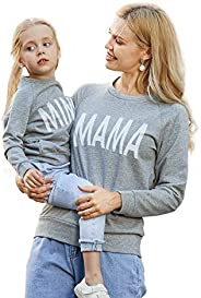 Mumetaz Mommy and Me Outfits Red Heart Pattern Long Sleeve Pullover Sweatshirt Matching Clothing