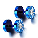 Flongo Round 8mm Blue Men's Unisex Stainless Steel Sparkling Tunnel Illusion Fake Ear Plugs Cheater Stud Earrings