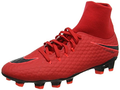 NIKE Men's Hypervenom Phelon 3 DF FG University Red/Black Soccer Cleat 10.5 Men US