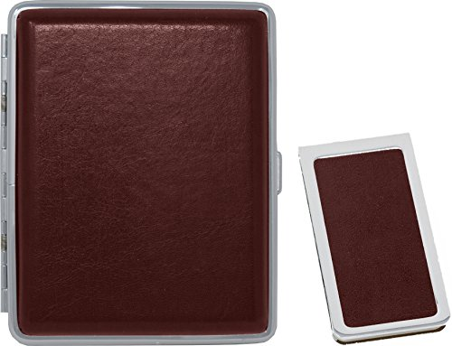 Smooth Burgundy Leather Money Clip + Matching (100s) Nickle-Plated Metal Cigarette Herbal Cigarette Cigar Tobacco Carrying Stash Storage Case ()