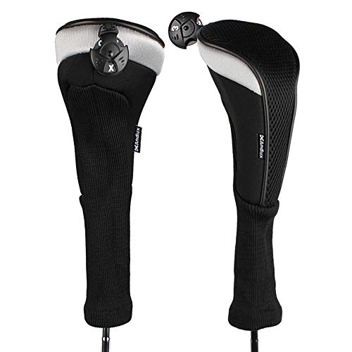 - Andux 2pcs/Pack Long Neck Golf Hybrid Club Head Covers with Interchangeable No. Tag CTMT-02 (Black)