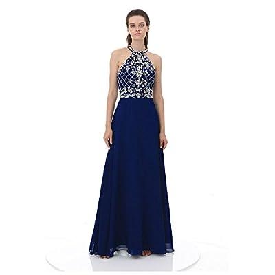 WDING Long Prom Dresses Halter Backless Heavy Beaded Rhinestone Evening Dresses