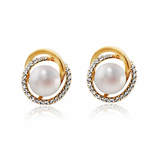 Bonahue Fashion Jewelry Diamond Stud Gold Pearl Earrings for Girl,Women Gift 15mm x (Homemade Cocktail Costumes)