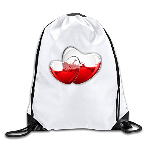 Glass Heart Wine 100% Polyester Fiber Drawstring Sports Bag One - House Glass Watch Online The