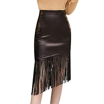 GDNTCJKY Faldas para Mujer Falda De Cuero Falda Negra Elástica ...