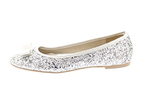Gold Toe Womens Tempest Metallic Sequin Sparkle Ballet Flat Slipon Dress Pump Bow Ballerina Skimmer Shoe Silver qyrZvQLZ