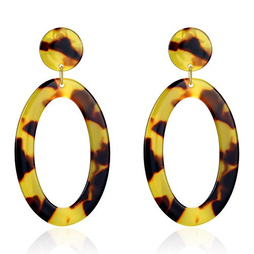 (UNIWILL Acrylic Earrings Tortoise Shell Resin Earrings Drop Dangle Statement Earrings for Women Fashion Jewelry (Yellow-02))