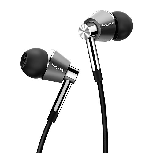 1MORE Triple Driver In-Ear Earphones Hi-Res Headphones with High Resolution, Bass Driven Sound, MEMS Mic, In-Line Remote, High Fidelity for iPhone/Android/PC/Tablet - Silver by 1MORE