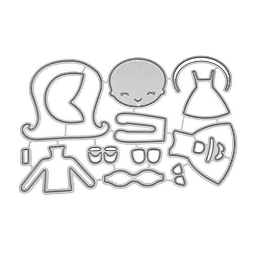 Riverlily Hairhoop Dress Girl Pattern Carbon Steel Cutting Dies Stencil Scrapbook Embossing Album Crafts ()