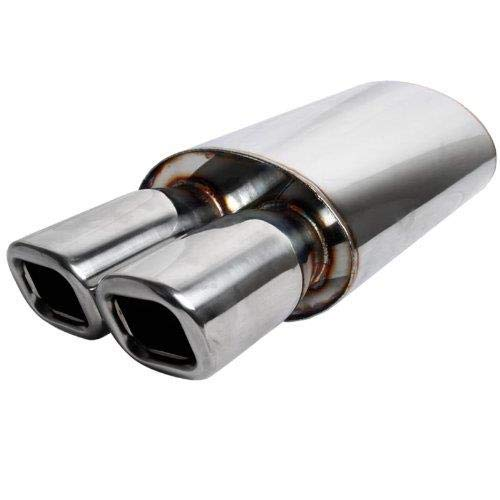 """S SIZVER Weld-On Muffler Series Universal 3"""" Remis Style DTM Dual Square Tip Stainless Steel 2.5"""" Inlet Muffler"""