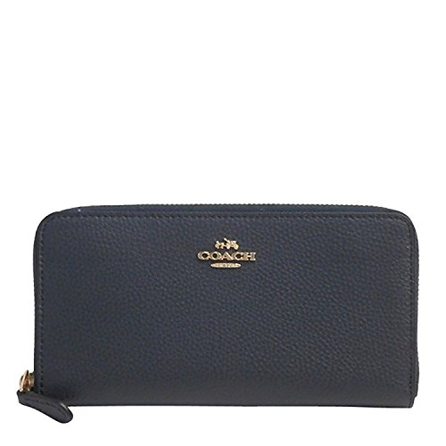 Coach F16612 Pebble Leather Accordion Zip Wallet in Midnight ()