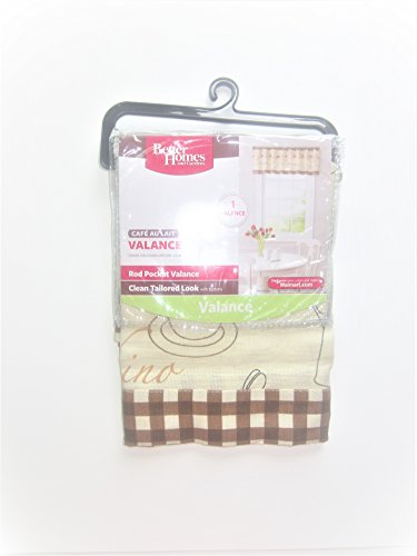 Better Homes and Gardens Cafe Au Lait Rod Pocket Checkered Buttons Valance by Better Homes and Gardens
