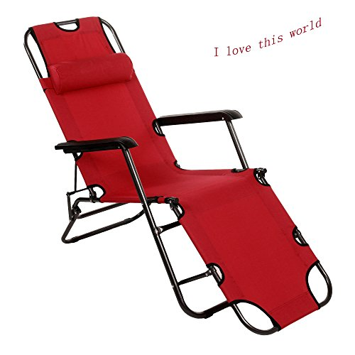 Red Chaise Lounge Chair, Folding Leisure Luxury Steel Pipe Beach Chair, Polyester Fabric Recliner Patio Chair with Fabric Adjustable Pillow (Red 178cm)