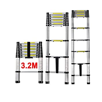 QITAO® Multi-Purpose Folding Extensionable Telescopic Aluminium Ladder (2.6/2.9/3.2/3.8M Foldable) (2.6M) Shenzhen QITAO Technology Co. Ltd.