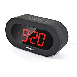 Reacher 3 Digital LED Alarm Clock with USB Port Phone Charger, Snooze, Big Red Digits, Outlet Powered Clock Small for Bedrooms, Desk, Shelf