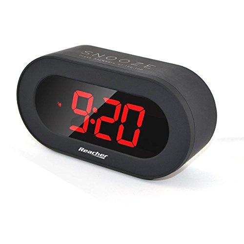 Reacher Digital LED Alarm Clock with USB Port Phone Charger, Snooze, Big Red Digits, Battery Back , Outlet Powered Clock Small for Bedrooms, Desk, Shelf