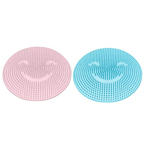 MIS1950s 2PC Silicone Non-Slip Massage Pad for Bathroom Strong Suction Cup Floor Shower Mat Foot Clean Brush (Blue&Pink) (Bath Mat Without Suction Cups)