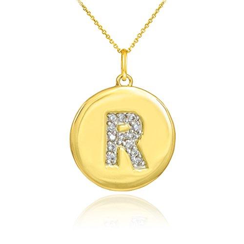 """Petits Merveilles D'amour - 10 ct Collier pendentif en forme de diamant disque 471/1000 Or lettre initiale """"r"""""""