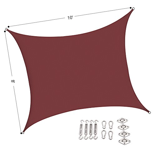 Outhere 8'X10' Sun Shade Sail Rectangle Canopy with Stainless Steel Hardware Kit - Durable Outdoor UV Shelter for Patio Lawn - Rust Red (Pergola Deck Kit)