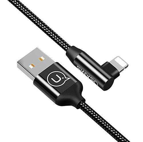 Uciefy Charging Cable, 4FT Right Angle Charger Cord 90 Degree Fast Data Cable Nylon Braided Compatible with iPhone X/ 8/8 Plus/7/7 Plus/6/6 Plus/5s/iPad and More