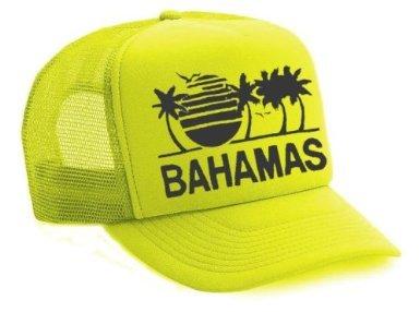 Neon Bahamas Mesh Trucker Hat Cap 80's (Neon Yellow)