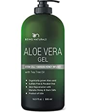 Aloe vera Gel - from 100% Pure Organic Aloe Infused with Manuka Honey, Stem Cell, Tea Tree Oil - Natural Raw Moisturizer for Face, Body, Hair. Perfect for Sunburn, Acne, Razor Bumps 16.9 oz