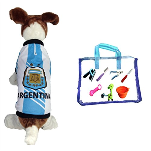 Dog Soccer Jersey Argentina (Medium) -Pet T-shirt- Dog Grooming kit-makes Dog Comfortable-cozy up Costume to Celebrate Your Country Tradition-enjoy Your Football Team Passion-best Quality Jersey.