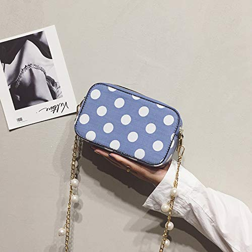 estate tracolla rossa piccola quadrata Messenger blu di WSLMHH bag borsa catena Mini a perle piccola borsa fresche fata twHH47aqx