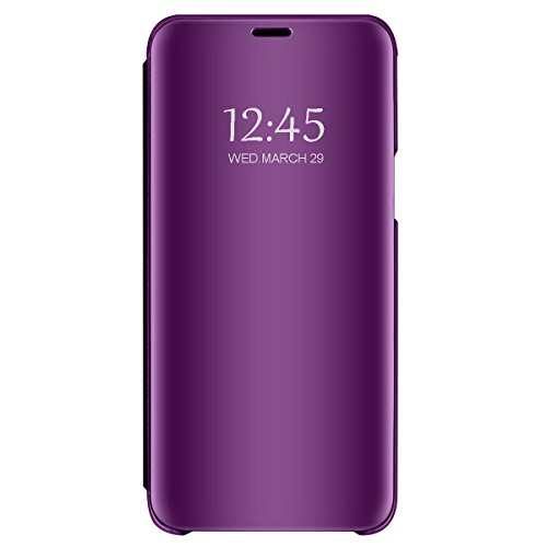 Eari Samsung Galaxy S9/S9 Plus Slim Removable Stand Protection S-View Mirror flip Cover (Galaxy S9, Purple)