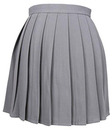 t Femme Haute Taille Mini Jupe Couleur Unie Plisse Jupes de Soire Cocktail Party Gris Moyen