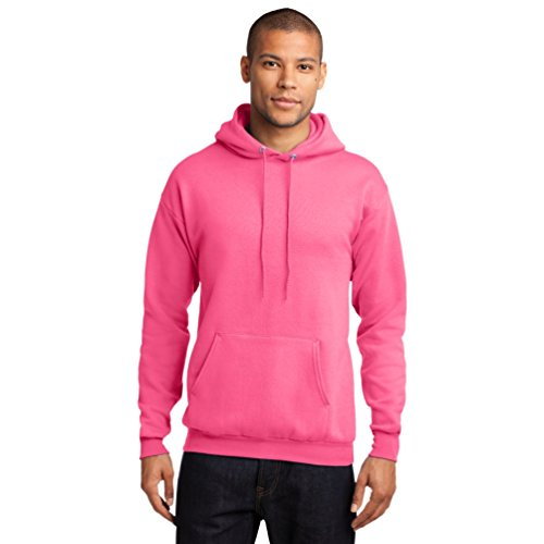 (Port Company Classic Pullover Hooded Sweatshirt. - X-Large - Neon Pink)