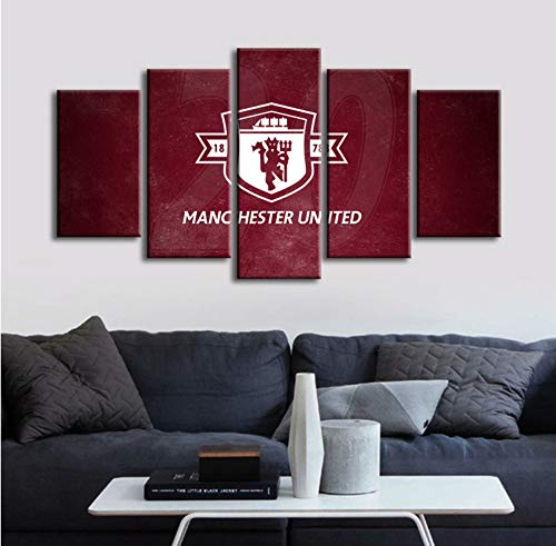 QMLJH Premier League Red Devils Manchester United Team Logo Football Five-in-One Combination Painting Home Living Room Office Background Decorative Paintings No Frame - Manchester Living Room