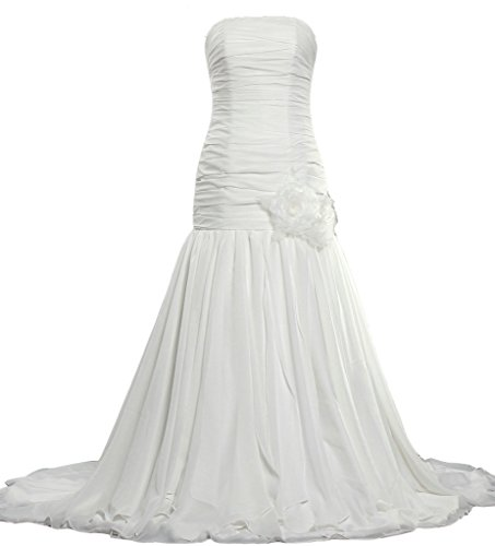 Dropped Waist Wedding Dress - ANTS Strapless Dropped Long Chiffon Wedding Dresses for Bride Size 10 US White