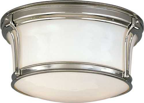 Newport Flush 2-Light Flush Mount - Polished Nickel Finish with Opal Glossy Glass Shade - Nickel Newport 1 Light