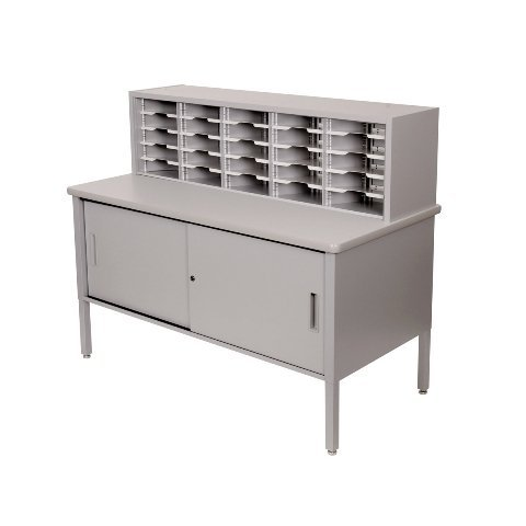 25 Adjustable Slot Literature Organizer with Cabinet Color: Gray Textured Steel/Gray Laminate Surface