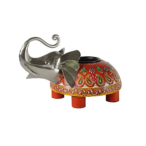 Asian Metal Candle Holder - Elephant Tealight Candle Holder - Handmade, Hand Painted, Upcycled Metal, Wood, Indian, East Asian, Candle Holder, Lucky Elephant, Housewarming, Gift