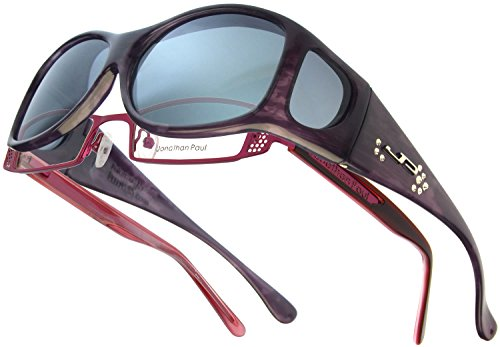 Fitovers Eyewear Glides Sunglasses with Swarovski Elements on temples (Brown, - Brown Gray Vs Sunglasses