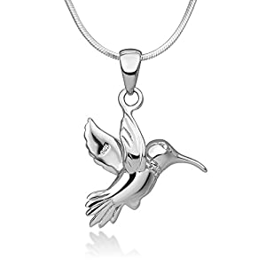 925 Sterling Silver Beautiful Hummingbird Nature Pendant Necklace, 18 inch Snake Chain